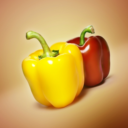 Red and yellow sweet pepper  photo