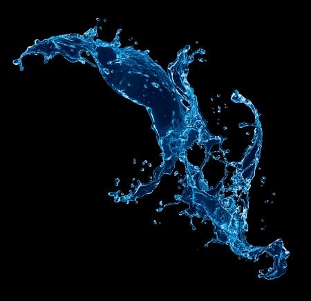 Water splash. Geïsoleerd op zwarte achtergrond