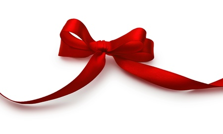 ribbon red: Red bow with shadow on a white background