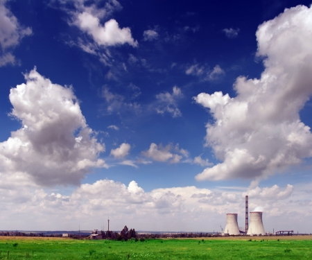 exhalation: nuclear power plant and agriculture field Stock Photo