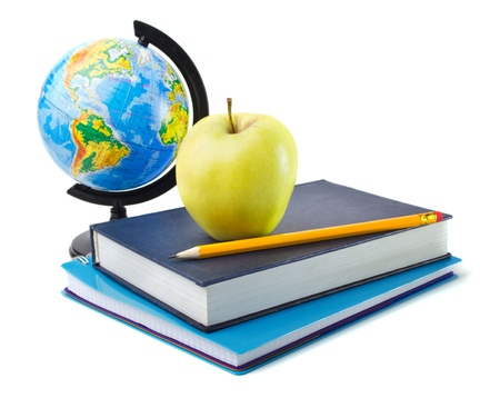 back to school supplies: Schoolchild and student studies accessories Stock Photo
