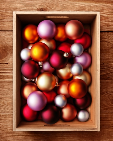 Colored Christmas balls in a wooden box photo
