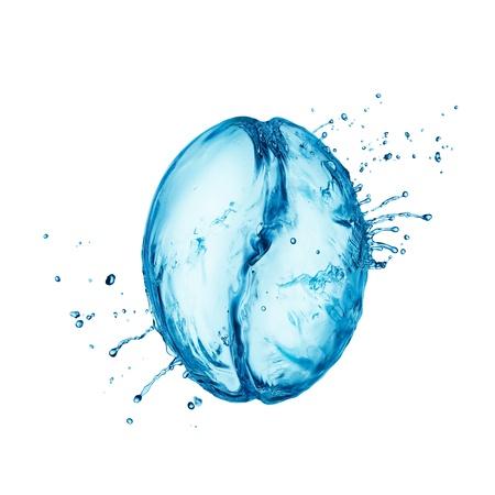 Coffee bean make from water splash Imagens