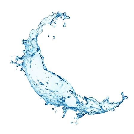 gota de agua: salpicaduras de agua azul sobre fondo blanco Foto de archivo