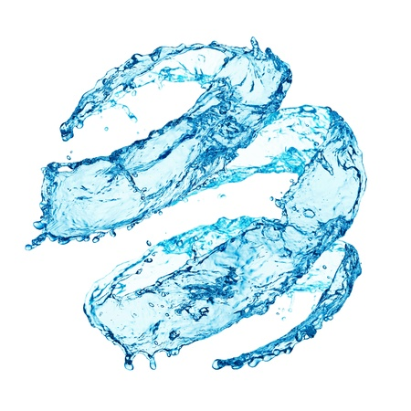 Blue swirling water splash isolated on white background photo