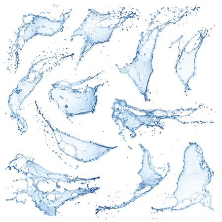 Water spatten collectie geà ¯ soleerd op witte achtergrond