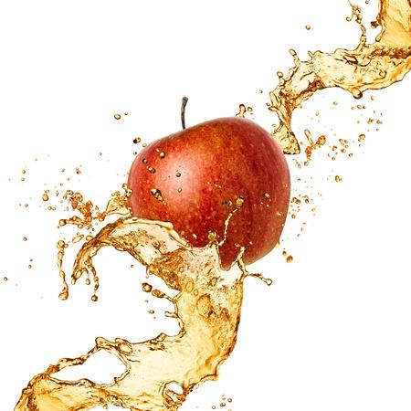 Splash juice with apple isolated on white Stock Photo