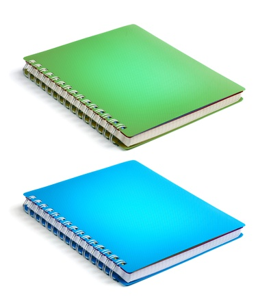 note book: Green and blue color Cover Note Book Stock Photo
