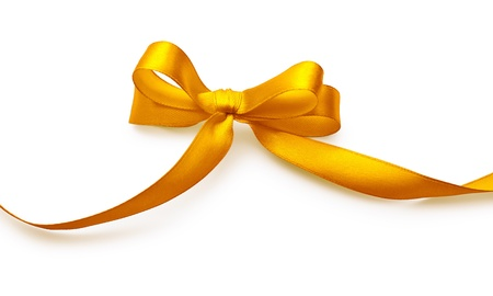 yellow ribbon: Gold bow with shadow on a white background Stock Photo