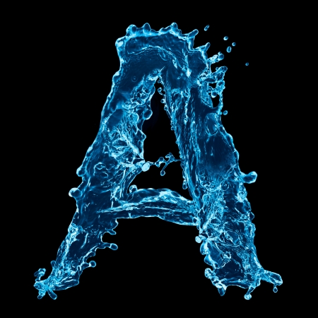 One letter of water alphabet on black background