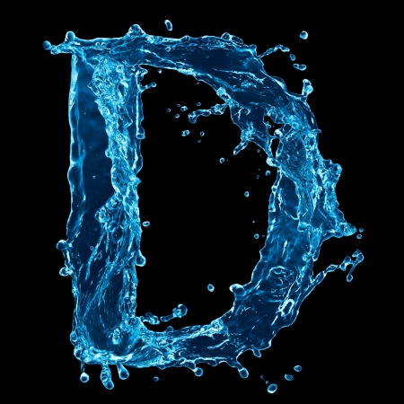 beautiful alphabet: One letter of water alphabet on black background