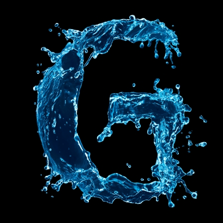 water alphabet: One letter of water alphabet on black background
