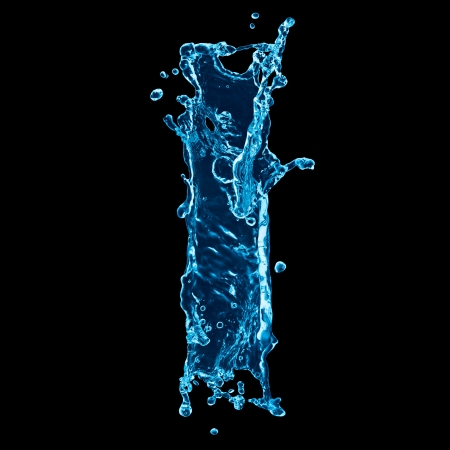 black liquid: One letter of water alphabet on black background
