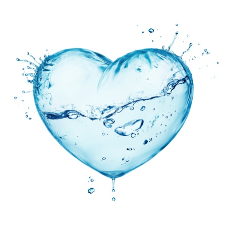 clean heart: Heart from water splash with wave, inside isolated on white Stock Photo