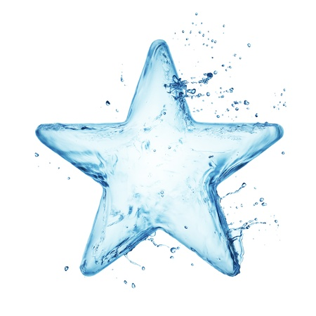 Star from water splash isolated on white photo