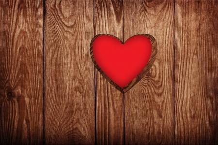 Houten deur close-up, hart vorm Stockfoto