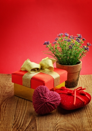 Heart, Valentines Day gift box and flower Stock Photo - 17454640