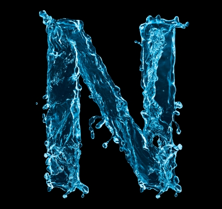 water black background: One letter of water alphabet on black background