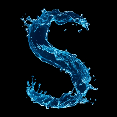 One letter of water alphabet on black background photo