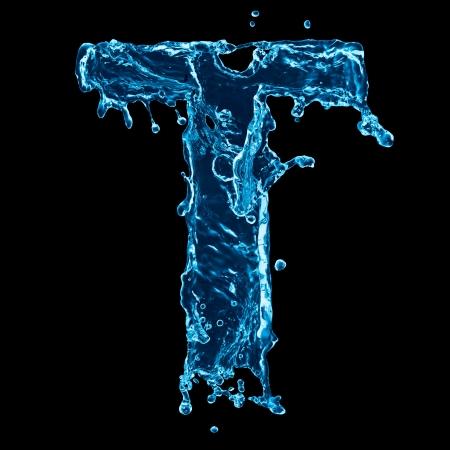 Een brief van water alfabet op zwarte achtergrond Stockfoto