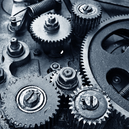 cogs: close up view of gears from old mechanism Stock Photo