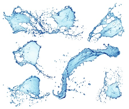 water splashes collection isolated on white background