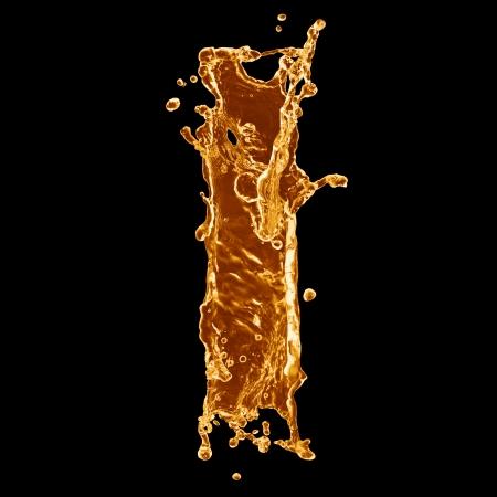 orange splash: Orange liquid splash alphabet Stock Photo