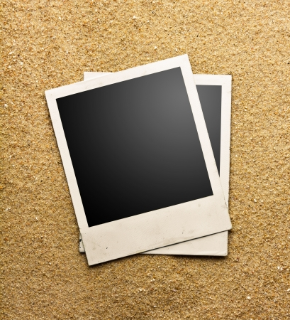 Photo frame on sand background, path inside frame photo
