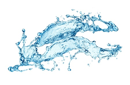 흐름: 블루 워터 스플래쉬 흰색 배경에 고립