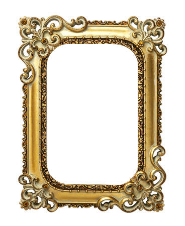 mirror on wall: Gold vintage frame isolated on white background