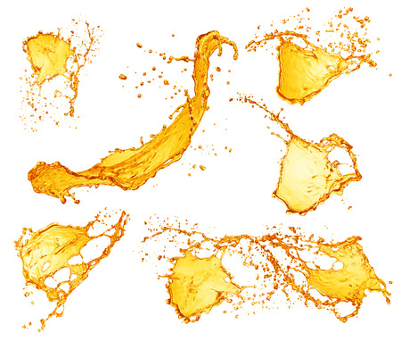 orange juice: Set of orange water splashes
