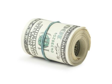 cash money: Un rodillo de dólares en el fondo blanco