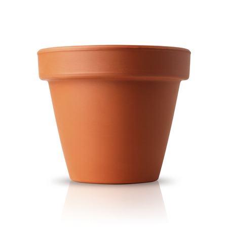 clay pot: flower pot isolated on white Stock Photo