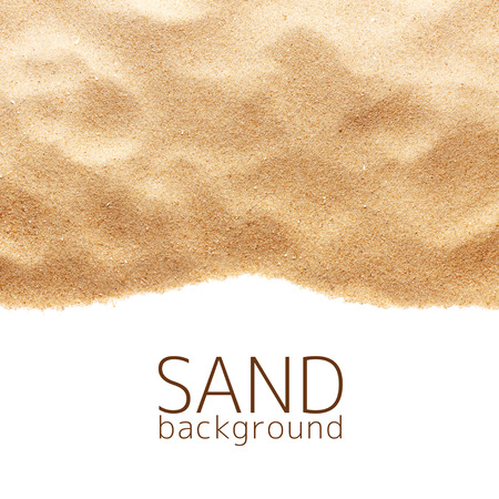 sunny beach: The sand scattering isolated on white background Stock Photo