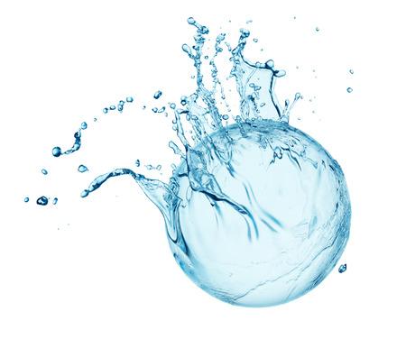 blue water splash isolated on white background Stockfoto