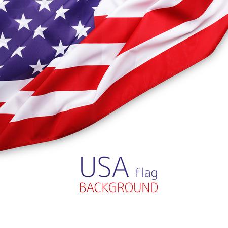 Close-up van de Amerikaanse vlag op effen achtergrond