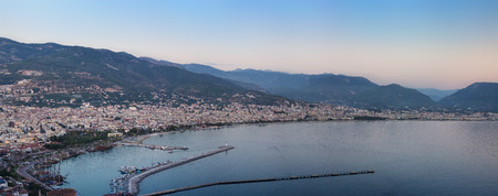 alanya: View of Alanya harbor from Alanya peninsula. Turkish Riviera Stock Photo