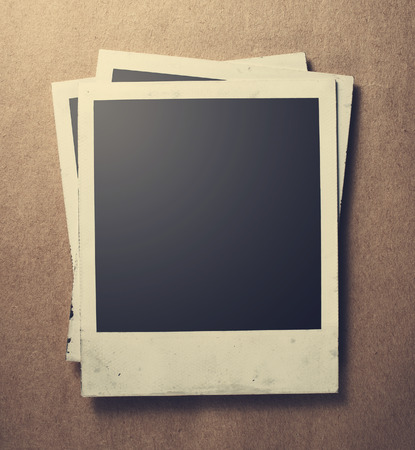 instant film transfer: Old instant photos on old paper
