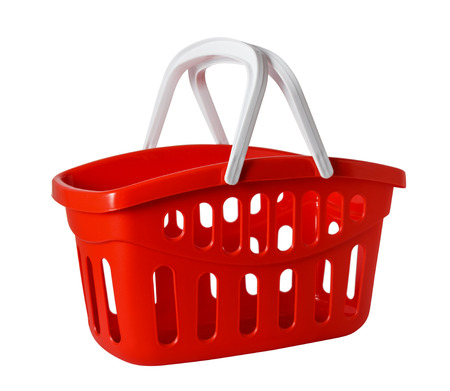 empty basket: A studio shot of an empty shopping basket isolated on white background