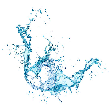 witte achtergrond: blauw water splash geïsoleerd op witte achtergrond