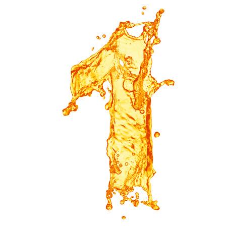 carta de agua liquida: Naranja alfabeto salpicaduras de líquidos