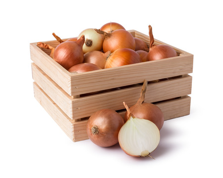 wood crate: Onion on wood crate Stock Photo