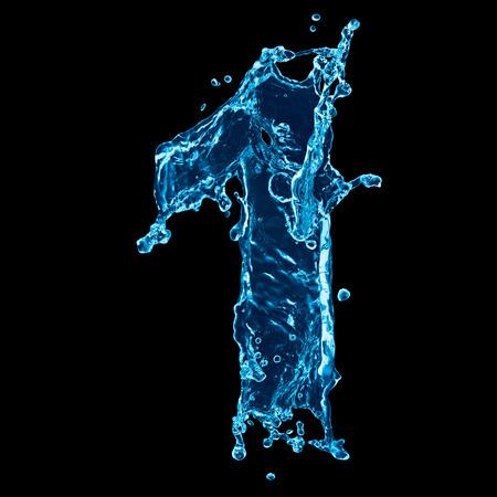 Une lettre de l'alphabet de l'eau sur fond noir Banque d'images - 46337885