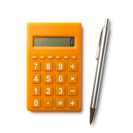 Calculator and pen with path Standard-Bild