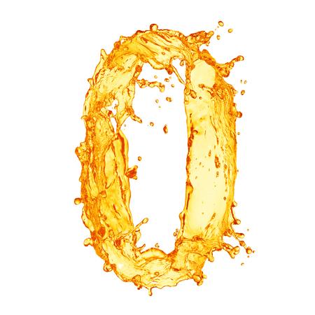 Orange liquid splash alphabet Standard-Bild