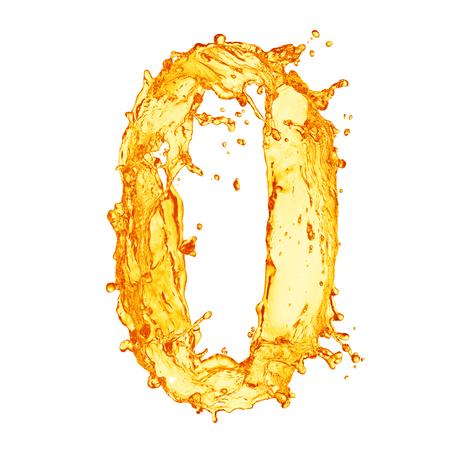 liquid crystal: Orange liquid splash alphabet Stock Photo