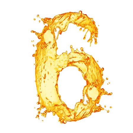 letter liquid water: Naranja alfabeto salpicaduras de líquidos