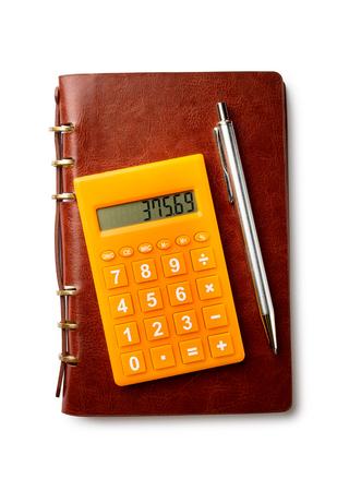 calculadora: Calculadora bol�grafo y Bloc de notas en fondo blanco