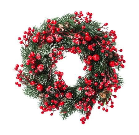 christmas isolated: Christmas wreath, isolated on white Stock Photo