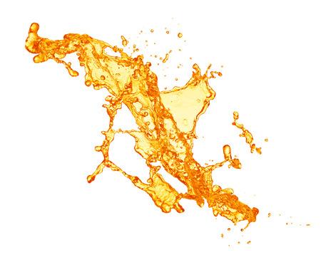 白い背景で隔離のオレンジ ジュースのスプラッシュ 写真素材